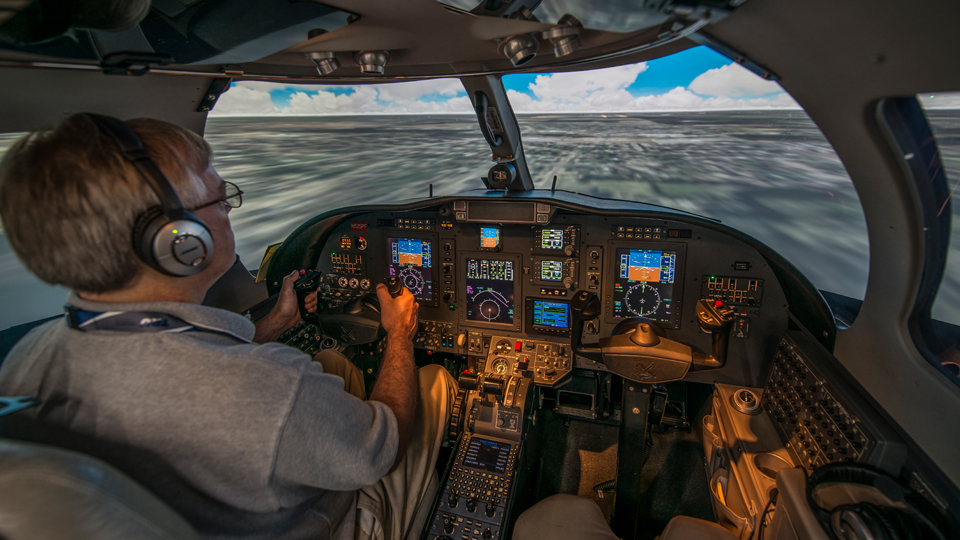 Inside the CJ3 Full Flight Simulator